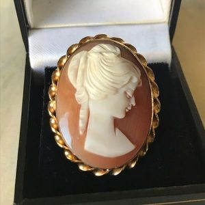 SHELL CAMEO PIN PENDANT RONCI GOLD FILLED